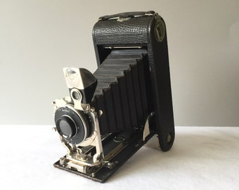 Antique Ansco No. 3A Folding Bionic Bellows Camera with Leather Case