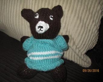Handmade Knitted Stuffed Bear with Sweater