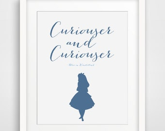 Curiouser and Curiouser, Alice in Wonderland Quote, Alice Print, Blue Navy Modern Home Decor, Lewis Carroll Quotes, Nursery Decoration, Wall