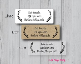 Custom Laurels Return Address Labels - Personalized Wreath Fancy Mailing Labels - Matte White, Kraft, or Clear Gloss