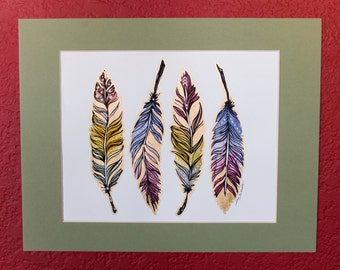 ORIGINAL Watercolor-Illustration Art - feathers watercolor illustration.