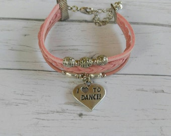 Dance Bracelet// Team Colors// Dance Mom// Dance Coach// Dance Gift// Custom Sports Bracelet for Girls// Choose Colors & Charm