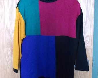 Vintage 90s Color-blocked Sweater