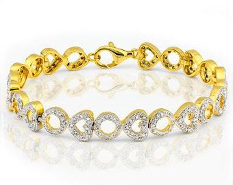 Bracelet 176  Genuine real Diamonds are in this Tennis Bracelet 1.02 carat in total, 18.5 cm long