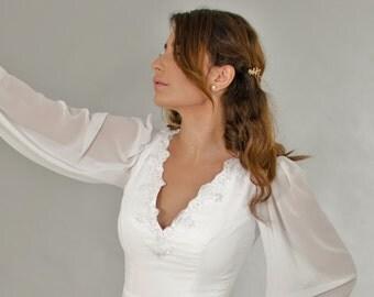 Sleeves Wedding Dress, Neck V wedding dress, Bridal Dress, Chiffon Wedding Dress, Bridal Gowns