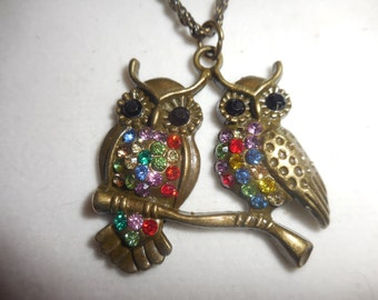 Bronze Owls Perched on branch, made with swarovski crystals, Lobster Claw Clasp
