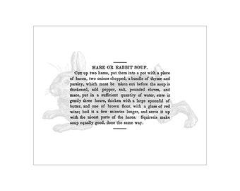 VHRecipe 810 No. 1; Rabbit Soup - Vintage Recipe Black and White Print - FREE SHIPPING