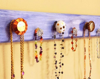"Jewelry Rack ""Wood"" -""Deep Ocean"" Purple/Blue ""Weathered Look"" w/Decorative Knobs"