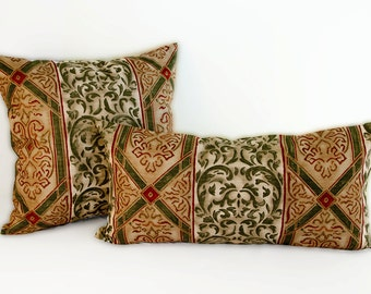Tan and Green Pillow Cover with Crimson and Gold Details, Custom Decorative Pillow Cover