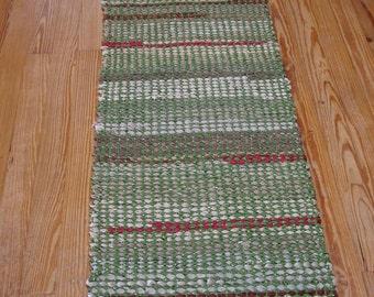 Handwoven Rag Rug, green runner