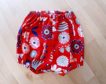 Red retro print baby bloomers/diaper cover/shorts