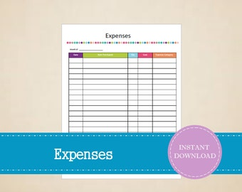 Expenses Tracker - Small Business Expenses - Business Planner - Printable and Editable - INSTANT PDF DOWNLOAD