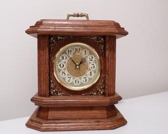 mantle clock wood mantle clock handmade clock clock mantel clock desk - Mantle Clock