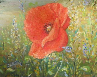 Poppy Original Oil Painting Pastel Field Red Flower Modern Art Decor Wall Nursery Living room Impasto Palette knife Floral Artwork Canvas