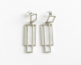 Layered squared earrings