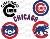 Chicago Cubs Cubbies MLB Baseball Logo Cutting File / Clipart Set in Svg, Eps, Dxf, Png, and Jpeg for Cricut and Silhouette