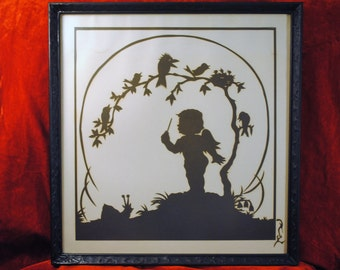 1970's Hand cut Silhouette Art