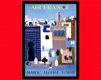 FINE ART REPRODUCTION Algeria Morocco Tunisia Air France Poster Vintage Tourism Travel Print Travel  Retro  Algeria Poster  bp