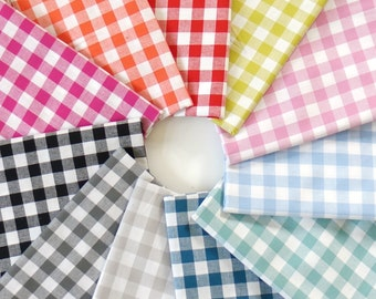 """1/2"""" Checkers Fat Quarter Bundle -  Cotton + Steel - 11 Gingham Colors"""