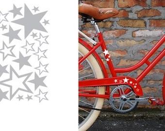 FUN STICKERS stars bicycle, bike decals