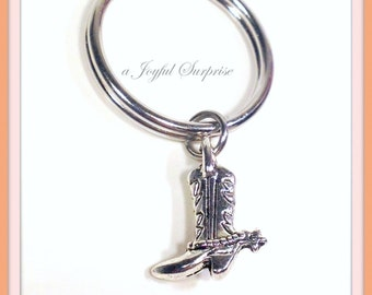 SALE - Cowboy boot Keychain, Rodeo Bull Rider Key chain, Ranch Hand Key Chain Fathers Day Gift Boot Charm Silver Iron Cowboy Keyring Man Men