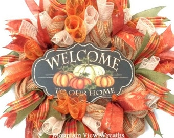 Fall Wreath, Autumn Wreath, Autumn Welcome Wreath, Fall Decor. Autumn Mesh Wreath, Fall Colors Wreath, Fall Welcome Sign Wreath