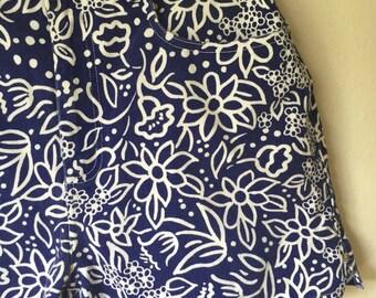 Vintage Retro 90s Blue Floral Highwaisted Festival Shorts