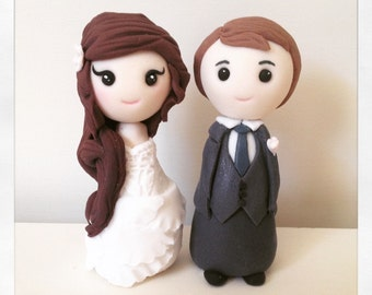 Bride and groom handmade edible fondant wedding cake toppers