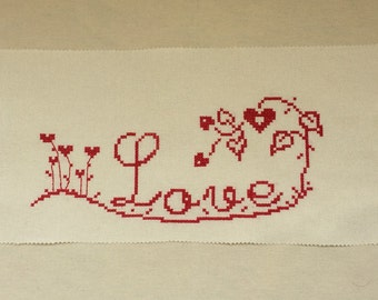 Cross stitch Picture Love, Hand Embroidery Design