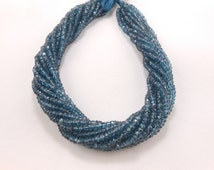 """Free Shipping London Blue Coated Topaz 13"""" long Faceted Rondelle Micro Cut Gemstone Beads 4mm"""