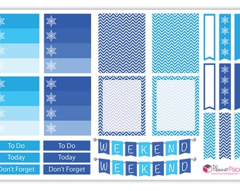 Winter Blue Christmas Planner Stickers — Print Your Own!