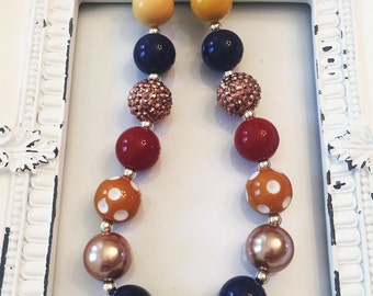 MARLEY, fall necklace, jewelry, girls jewelry, back to school, chunky beads, statement necklace, necklace, fall colors