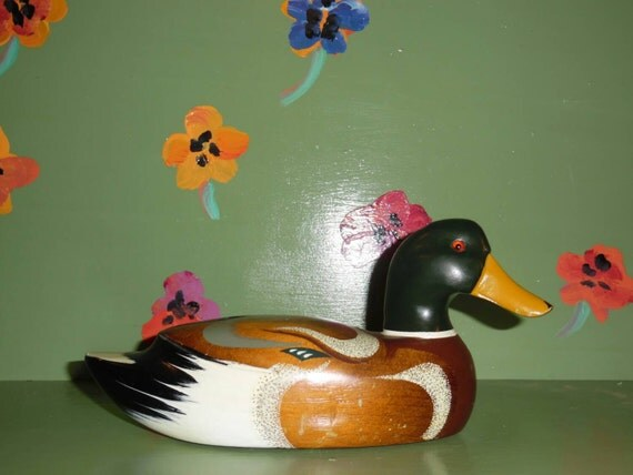 Wood hand painted duck mallard decor office home desk bookcase for Duck decorations home