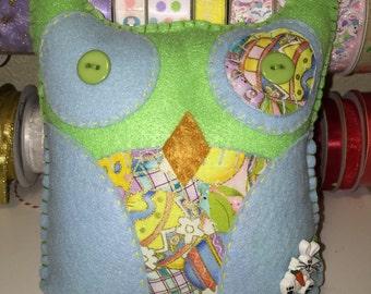Green Felt Easter Owl
