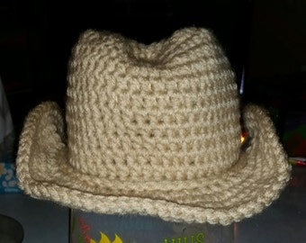 Crochet Cowboy Hat, Photo Prop, Made To Order, Customizable, Newborn To Adult