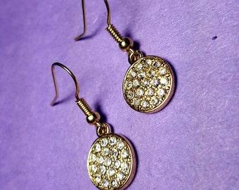 Gold & Diamond Circle Earrings