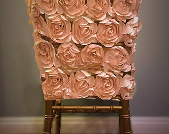 Mesh rosette chiavari chair cover - champagne (all colors available)