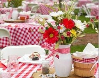 Checkered Tablecloth, Table Cloth, Polyester Checkered Wedding Tablecloth,  Red And White, Black