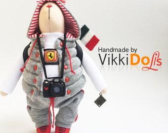 Tilda rabbit, bunny, soft toy, handmade, rabbit, fabric toy, bunny toy, soft toy, tilda bunny, soft toy,  Ferrari, sport style, sport rabbit