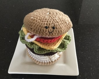 Crocheted Amigurumi Cheeseburger Complete with Buns Hamburger and toppings