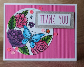 Thank you card / say thanks / butterfly and flowers card / Lawn Fawn / Flutter By
