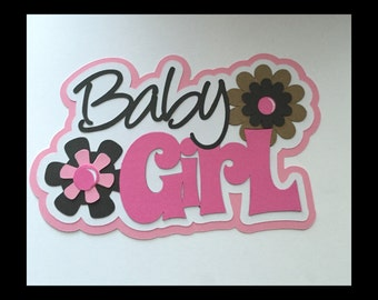 Baby girl  Title premade paper piecing scrapbook Free shipping!!!