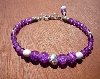 Beaded lilac bracelet