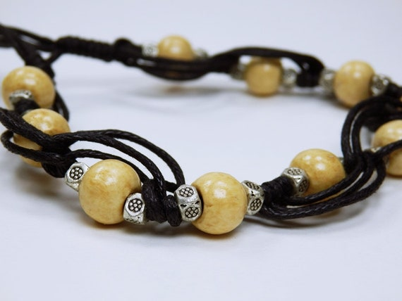 Bracelet natural wood beads in Tibetan style with metal beads on black fabric strap jewelry wood brown arm jewellery
