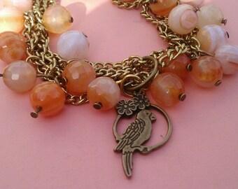 Orange glass beads and bronze chain Bracelet