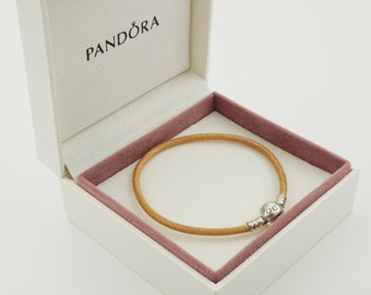 Genuine Authentic PANDORA Smooth Tan Leather Bracelet (S925 ALE) 20cm (Boxed) free postage