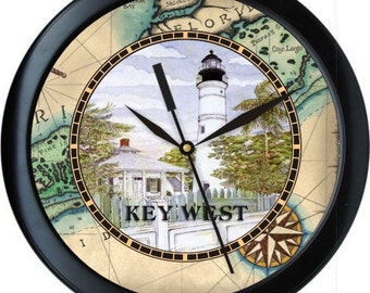 "Personalized Key West 10"" Wall Clock Map Lighthouse Beach Margaritaville Blue Yellow and White Home Decor Gift"