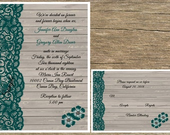 100 Personalized Rustic Wood Hunter Green Lace Wedding Invitations Set Rsvp Cards