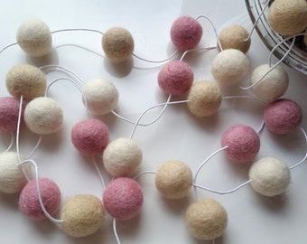Pastel garland,pink and white garland, felt ball garland, baby girl nursery decoration, baby shower decor, nursery bunting, pink bunting