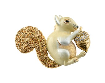 Squirrel Brooch, Gold Plated
